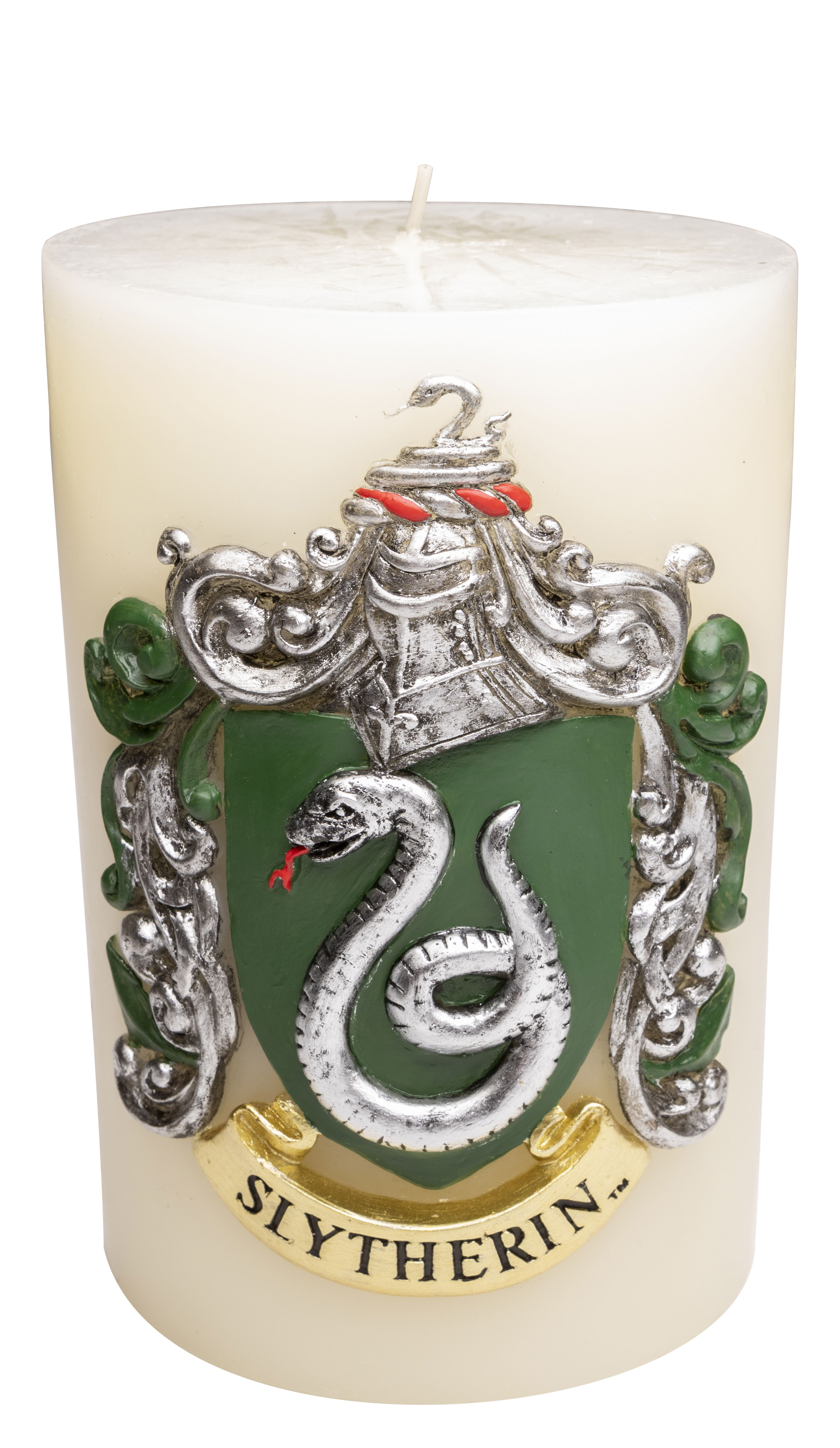 """""""Harry Potter"""" Luminary Sculpted Candle from Insight Editions, featuring Slytherin House"""
