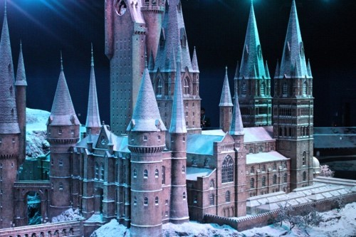 The Hogwarts Castle model covered in snow for the holidays