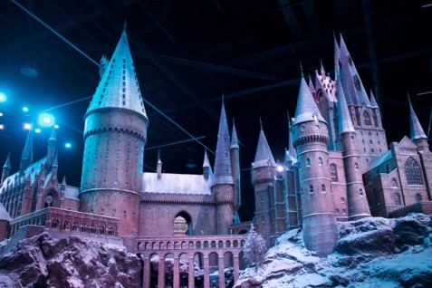 Another look at Hogwarts covered in snow, including the picturesque viaduct
