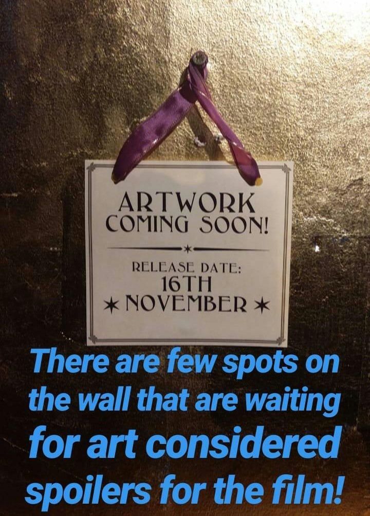 "Sign for embargoed pieces in the ""Crimes of Grindelwald"" gallery at the House of MinaLima (from Instagram)"