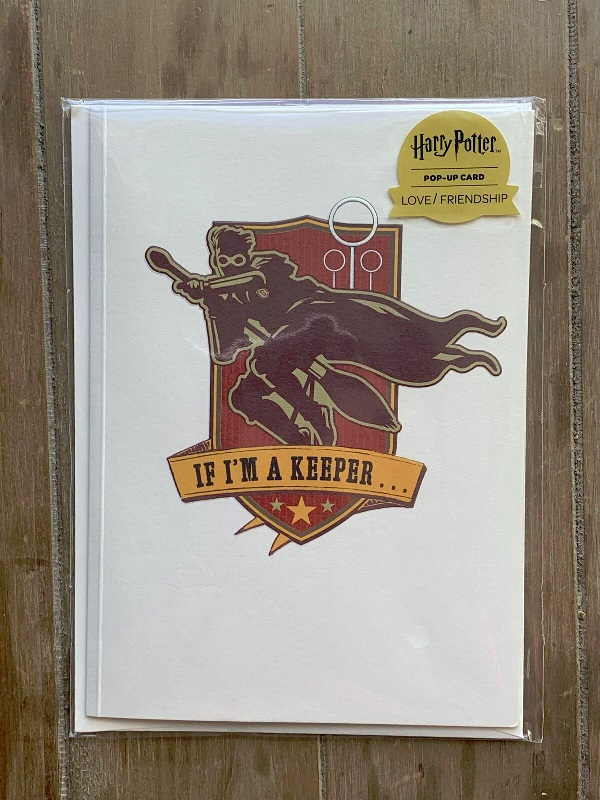 Pop-Up Golden Snitch Card from Insight Editions showing Harry Potter silhouette on his broom, chasing the Snitch in front of the three golden hoops on the Quidditch pitch