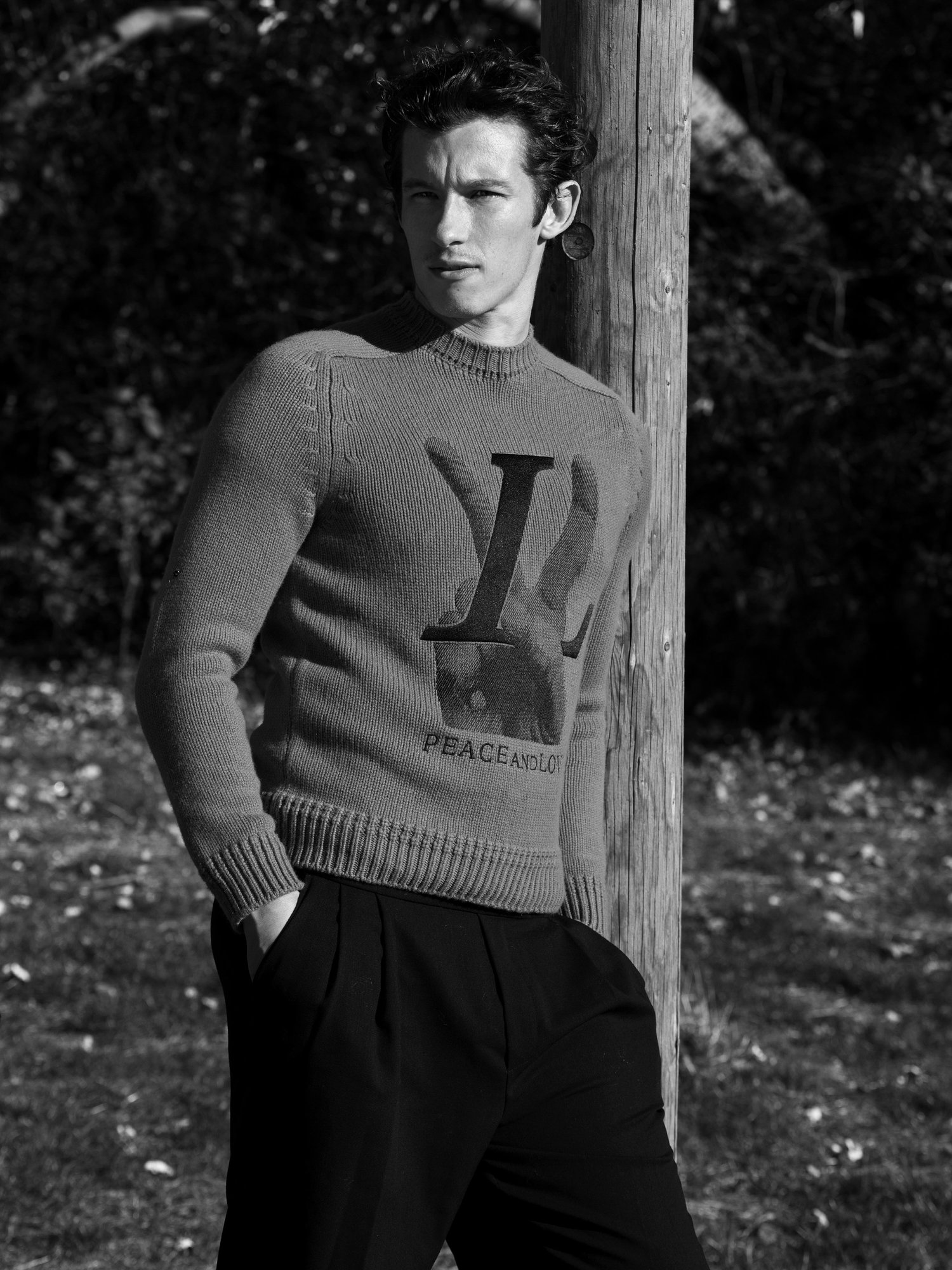 "Callum Turner poses for ""Flaunt Magazine""."