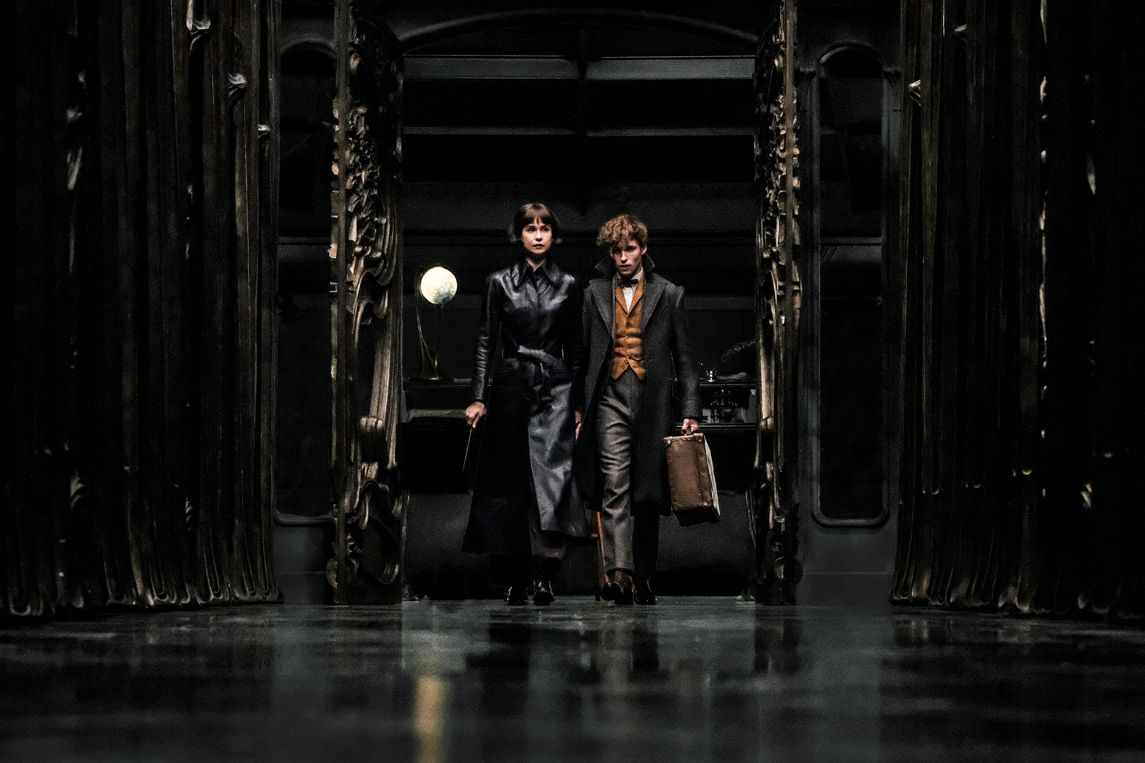 Tina Goldstein and Newt Scamander walk down a hallway.