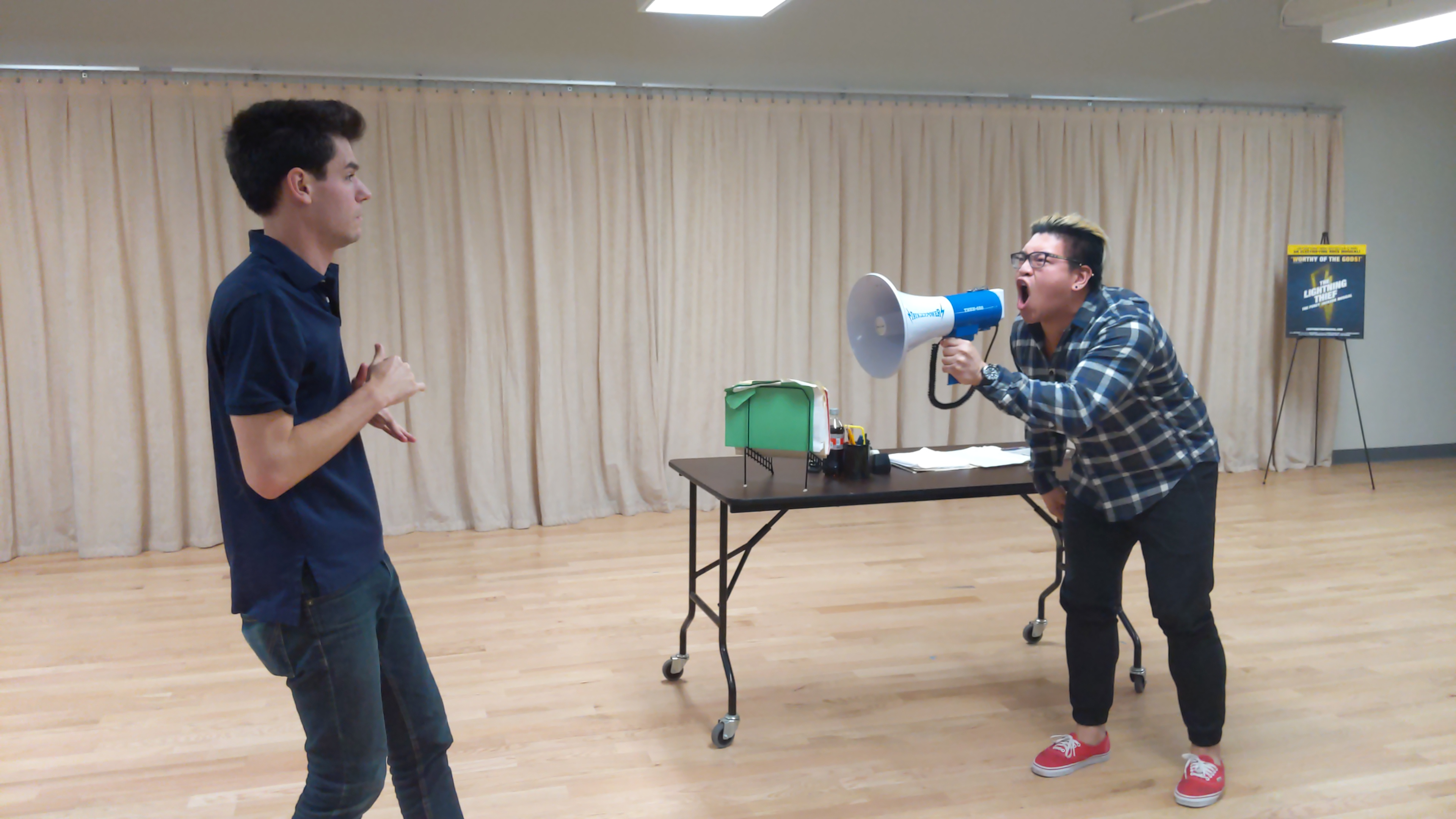 """Chris McCarrell (Percy) and Jorrel Javier (Mr. D) perform """"Another Terrible Day."""""""