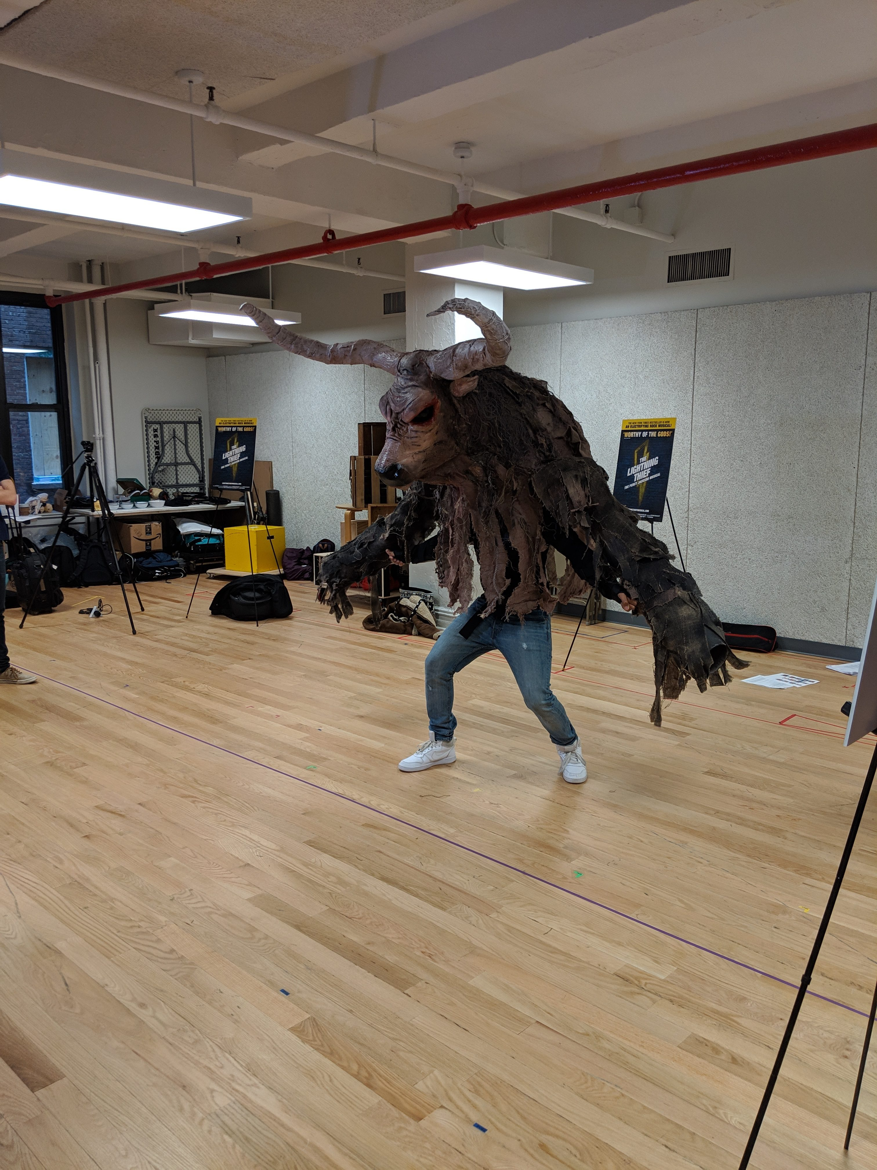 This minotaur costume is a large puppet designed especially for the scene when Percy fights the minotaur in the beginning of the show.