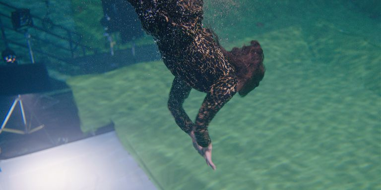 Credence's aunt dives for the baby before special effects have been added.