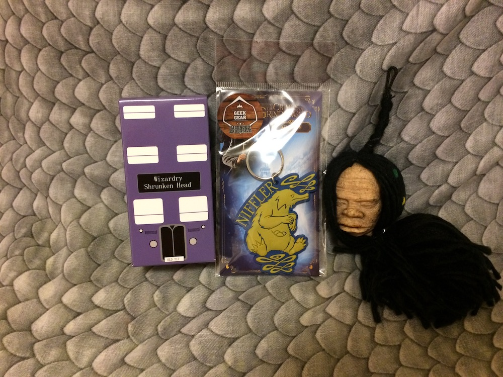 A cute Niffler keychain was accompanied by an unusual shrunken head figurine in December's box.