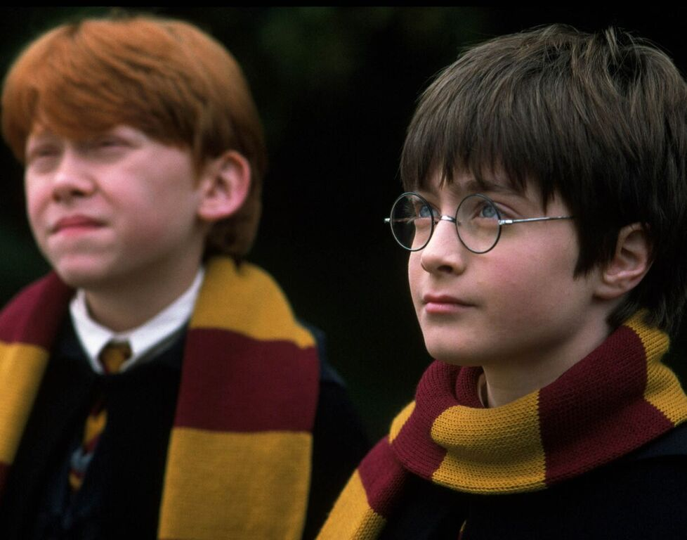 Harry and Ron listen to Hagrid.