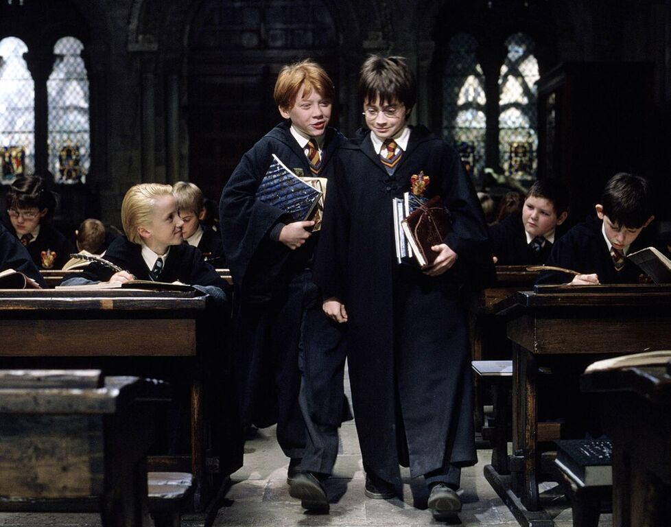 Harry and Ron entering Transfiguration class