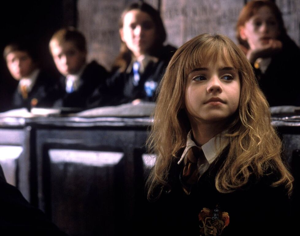 Hermione listens to Professor Flitwick's lesson on the Levitation Charm.