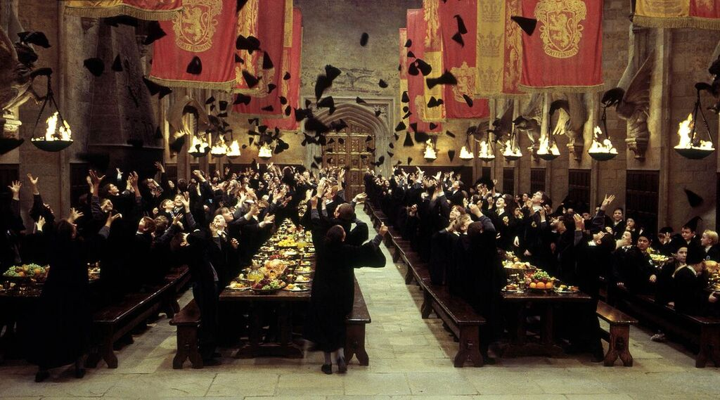 Hogwarts students celebrate the end of the House Cup championship.
