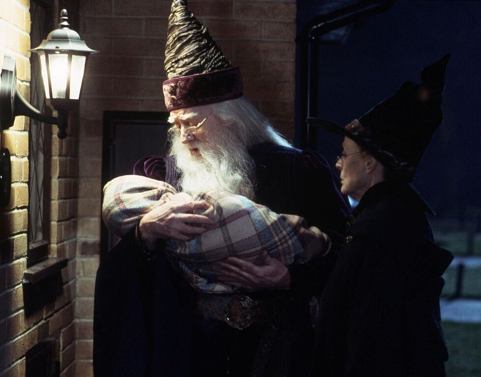 Dumbledore and McGonagall deliver baby Harry to the Dursleys.