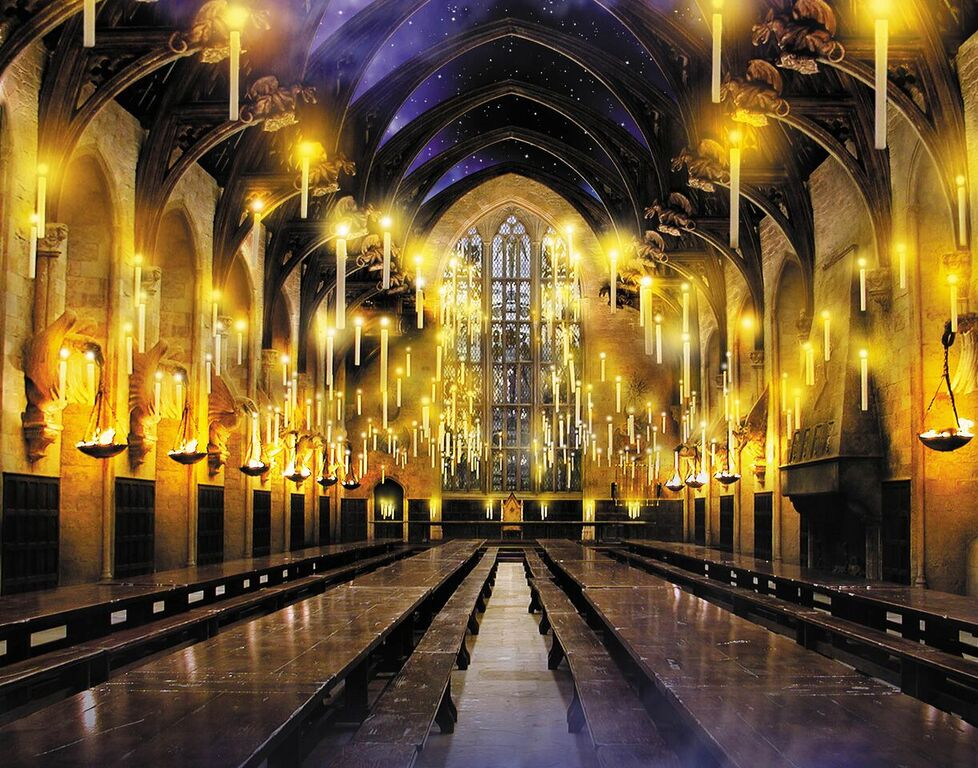 Floating candles illuminate the empty Great Hall.