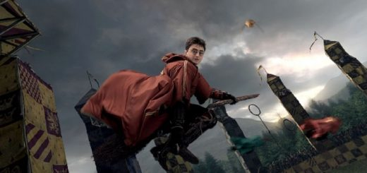 A holographic image of Harry Potter on a broomstick, as seen on the ride Harry Potter and the Forbidden Journey, is pictured.