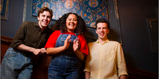 "The Melbourne cast of ""Harry Potter and the Cursed Child"" from left to right: Sean Rees-Wymms (Albus Severus Potter), Manali Datar (Rose Granger-Weasley), William McKenna (Scorpius Malfoy)."