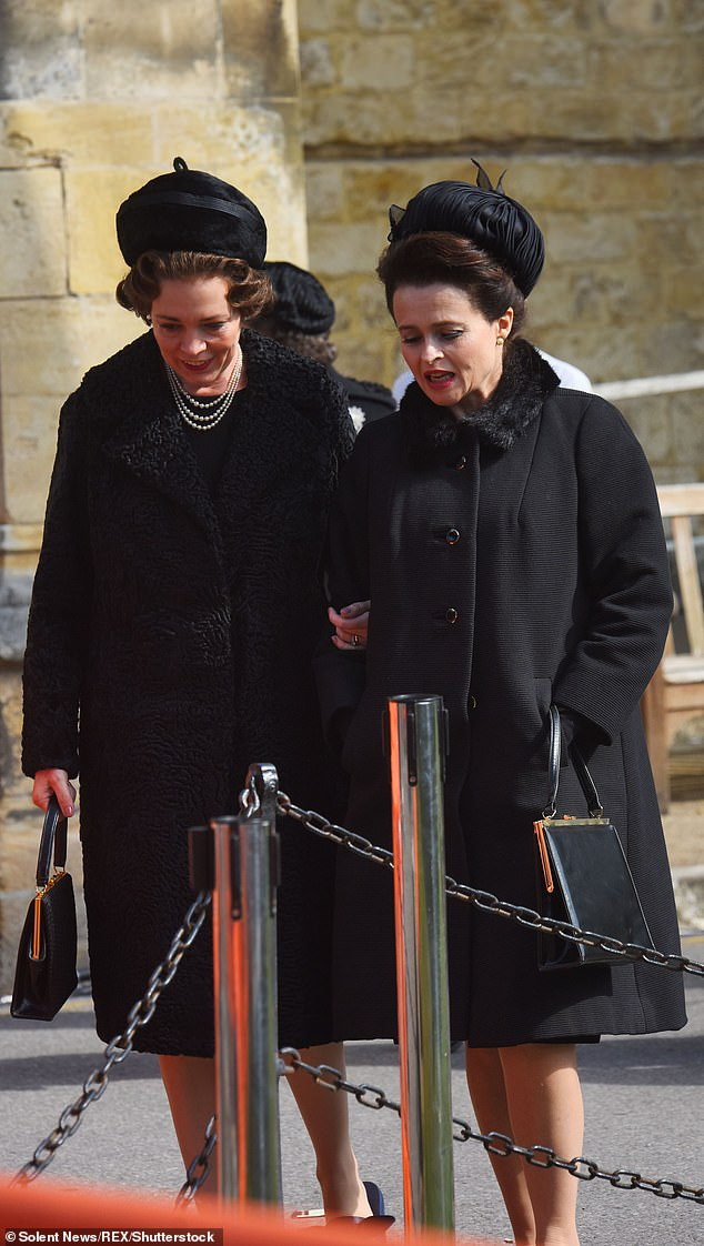 "Helena Bonham Carter with Olivia Coleman in Netflix season 3 of ""The Crown"""