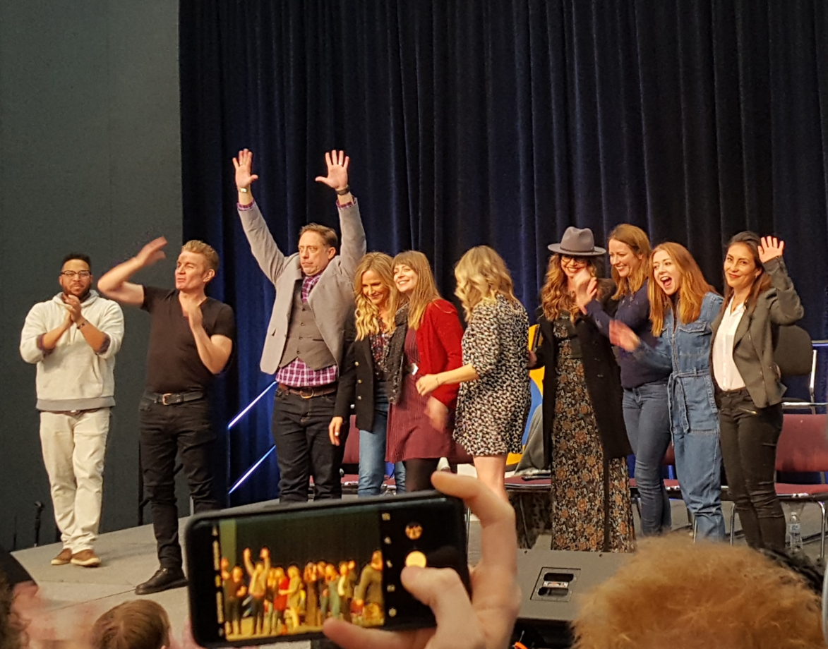 """The cast of """"Buffy the Vampire Slayer"""" and """"Angel"""" at the Wizard World Portland panel on February 23, 2019"""