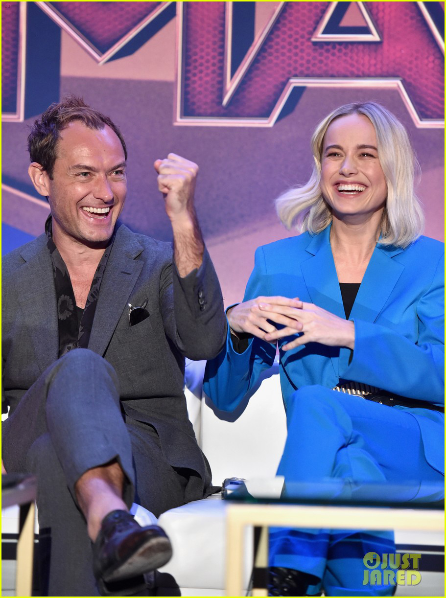 """Jude Law and Brie Larson share a laugh at the """"Captain Marvel"""" press junket."""