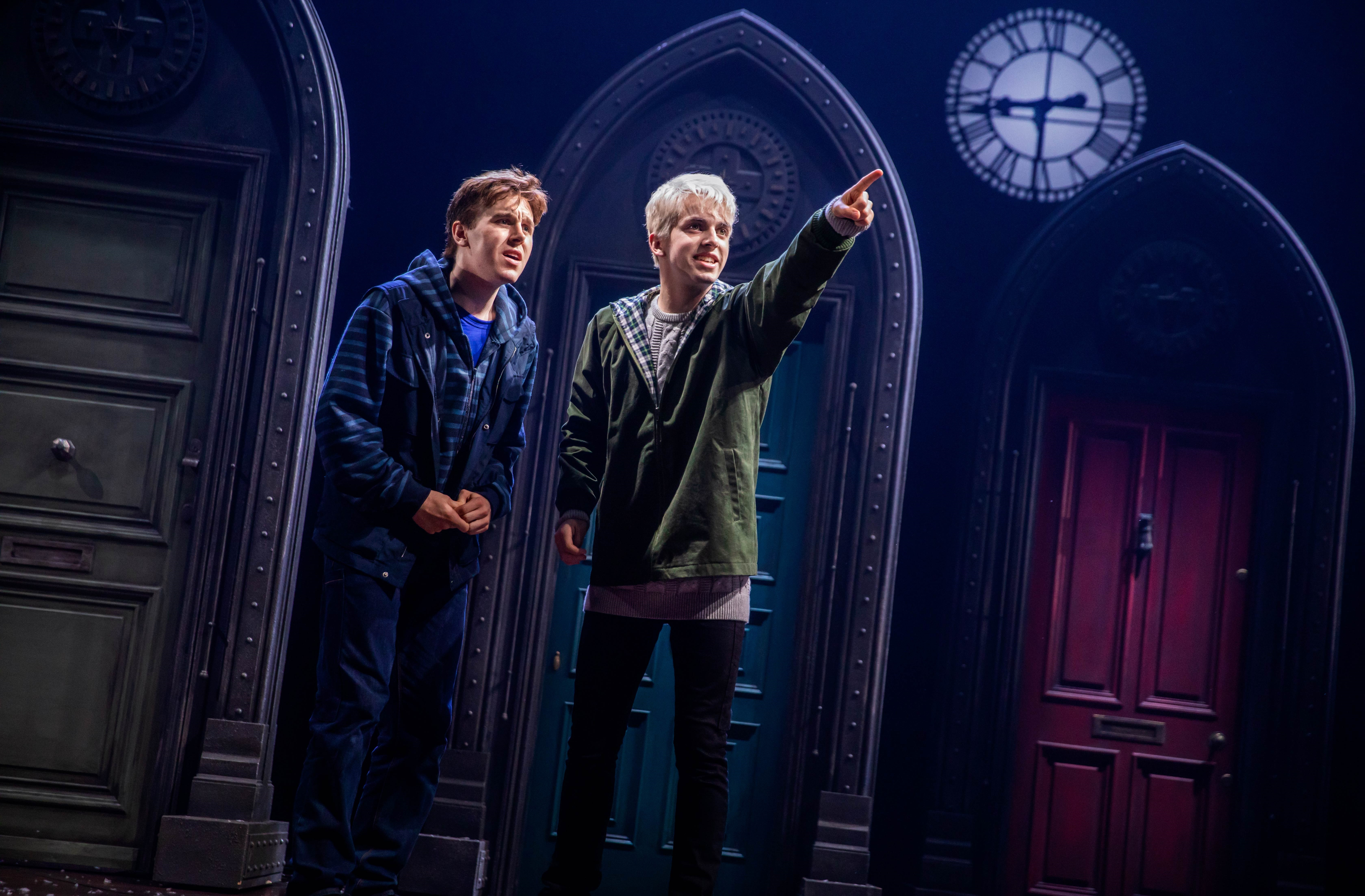 Scorpius Malfoy (William McKenna) points out something in the distance to Albus Potter (Sean Rees-Wemyss).