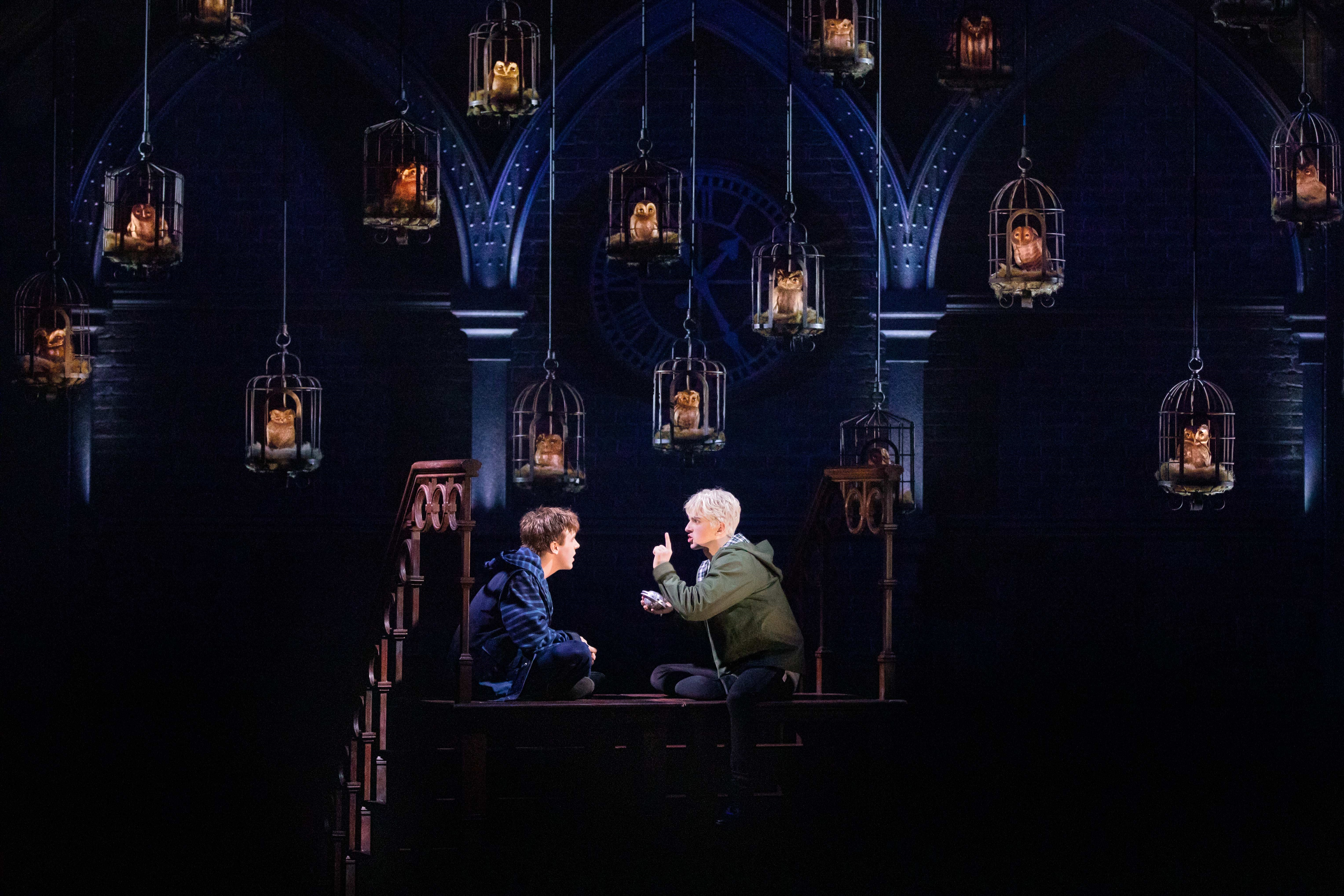 Albus Potter (Sean Rees-Wemyss) and Scorpius Malfoy (Wiliam McKenna) talk things over in the owlery.