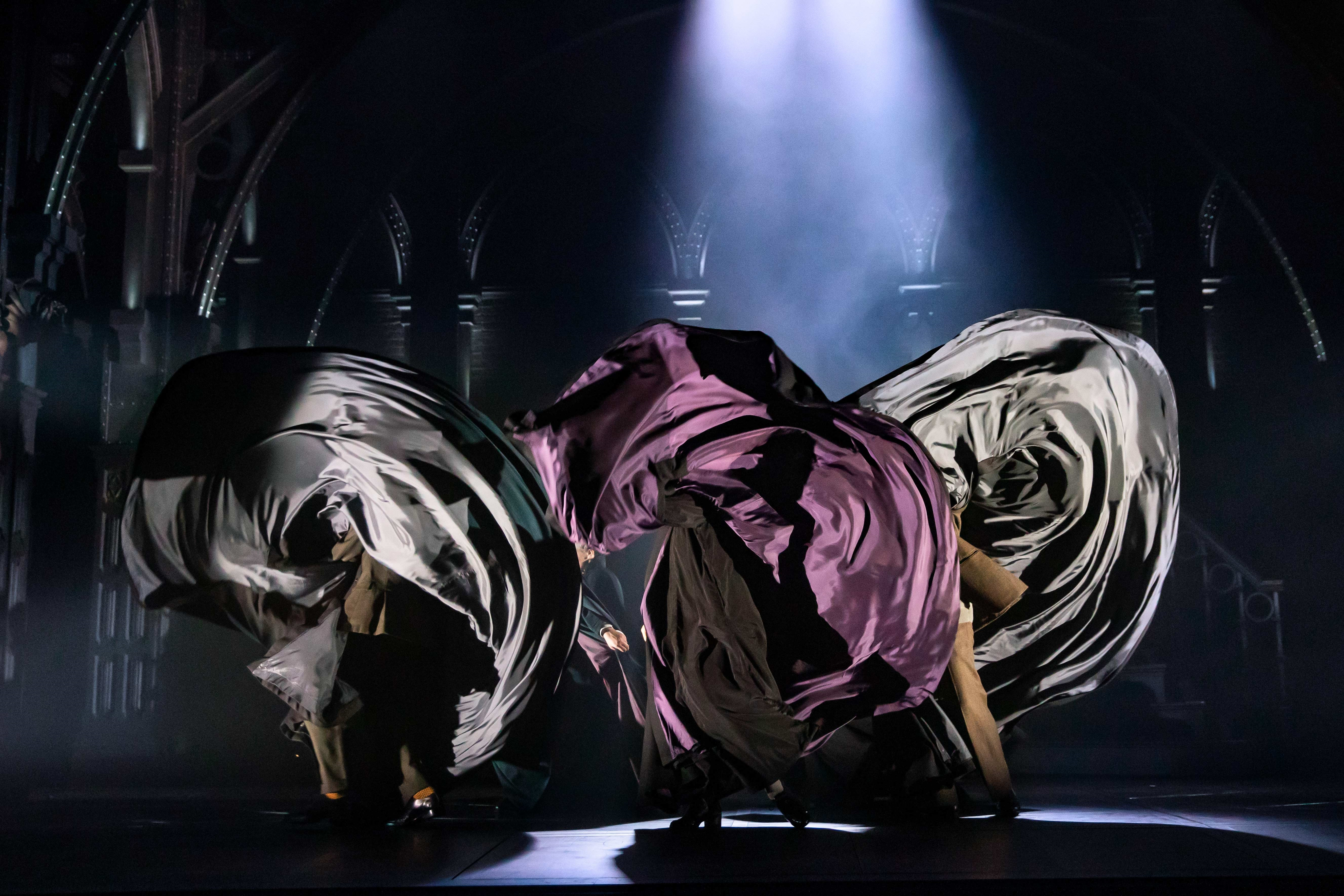 "Dancers' garments swirl about the stage during a preview performance of ""Harry Potter and the Cursed Child"" in Melbourne."