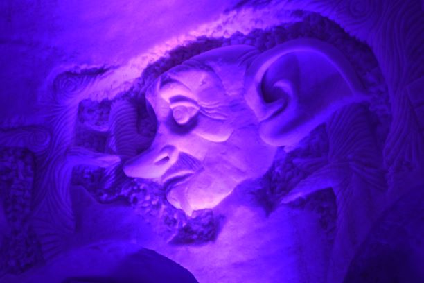 This carving of Dobby can be found in the Ice Bar.