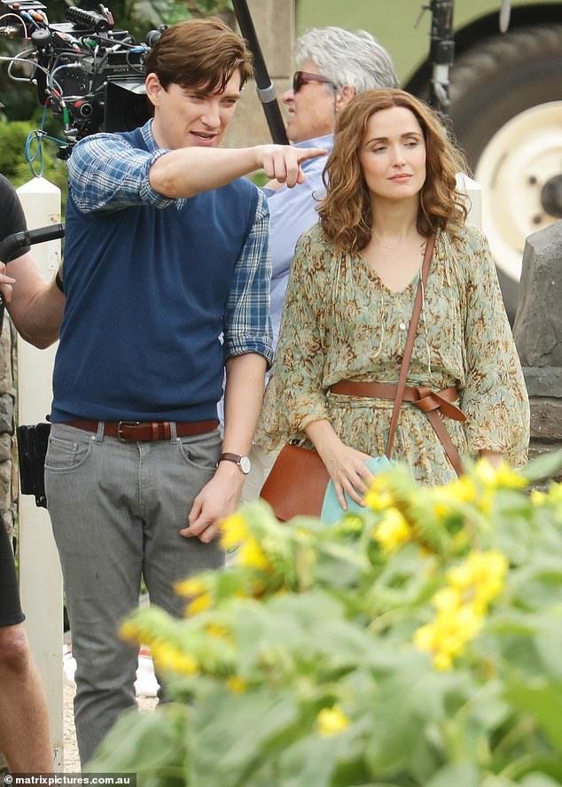 "Domhnall Gleeson on the set of ""Peter Rabbit 2"" with costar Rose Byrne"