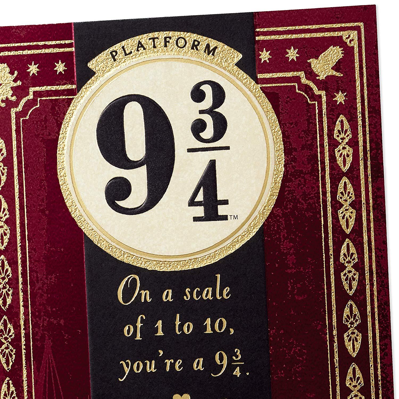 Platform nine and three-quarters Hallmark card detail