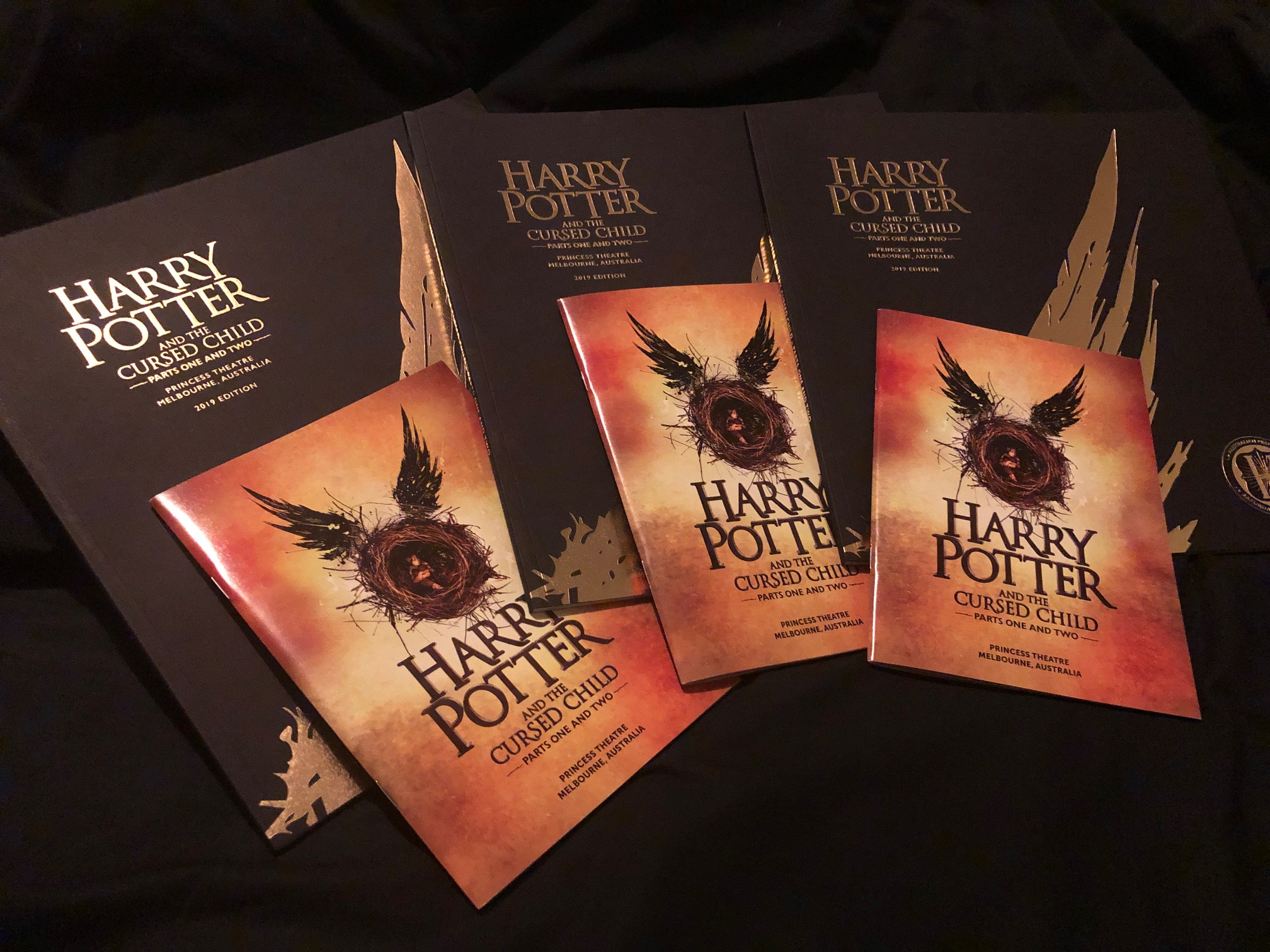 """""""Harry Potter and the Cursed Child"""" souvenir brochure and programs from the Melbourne, Australia, premiere on February 22, 2019"""