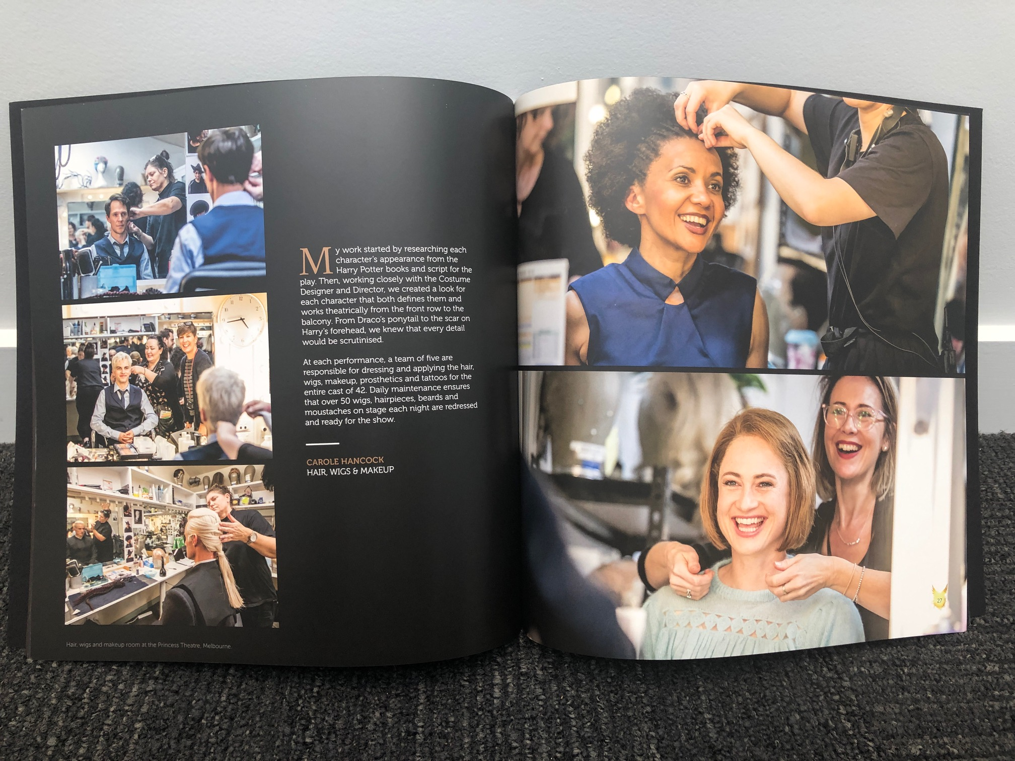 """Inside spread, """"Harry Potter and the Cursed Child"""" souvenir brochure and programs from the Melbourne, Australia, premiere on February 22, 2019"""