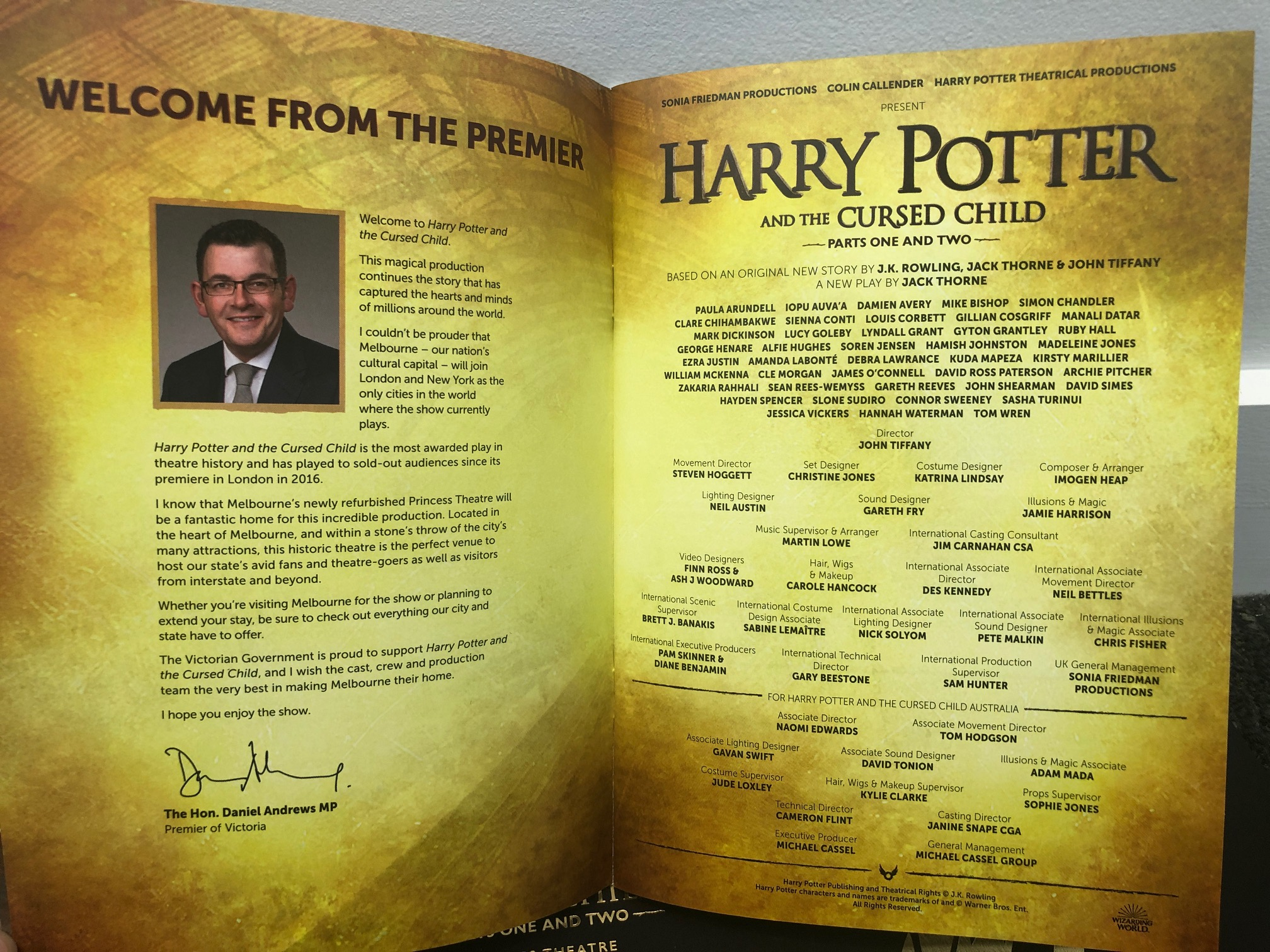 """Welcome message from """"Harry Potter and the Cursed Child"""" souvenir brochure and programs from the Melbourne, Australia, premiere on February 22, 2019"""