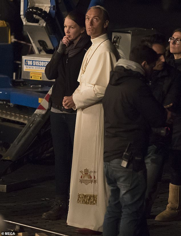 "Jude Law on set of ""The New Pope"""