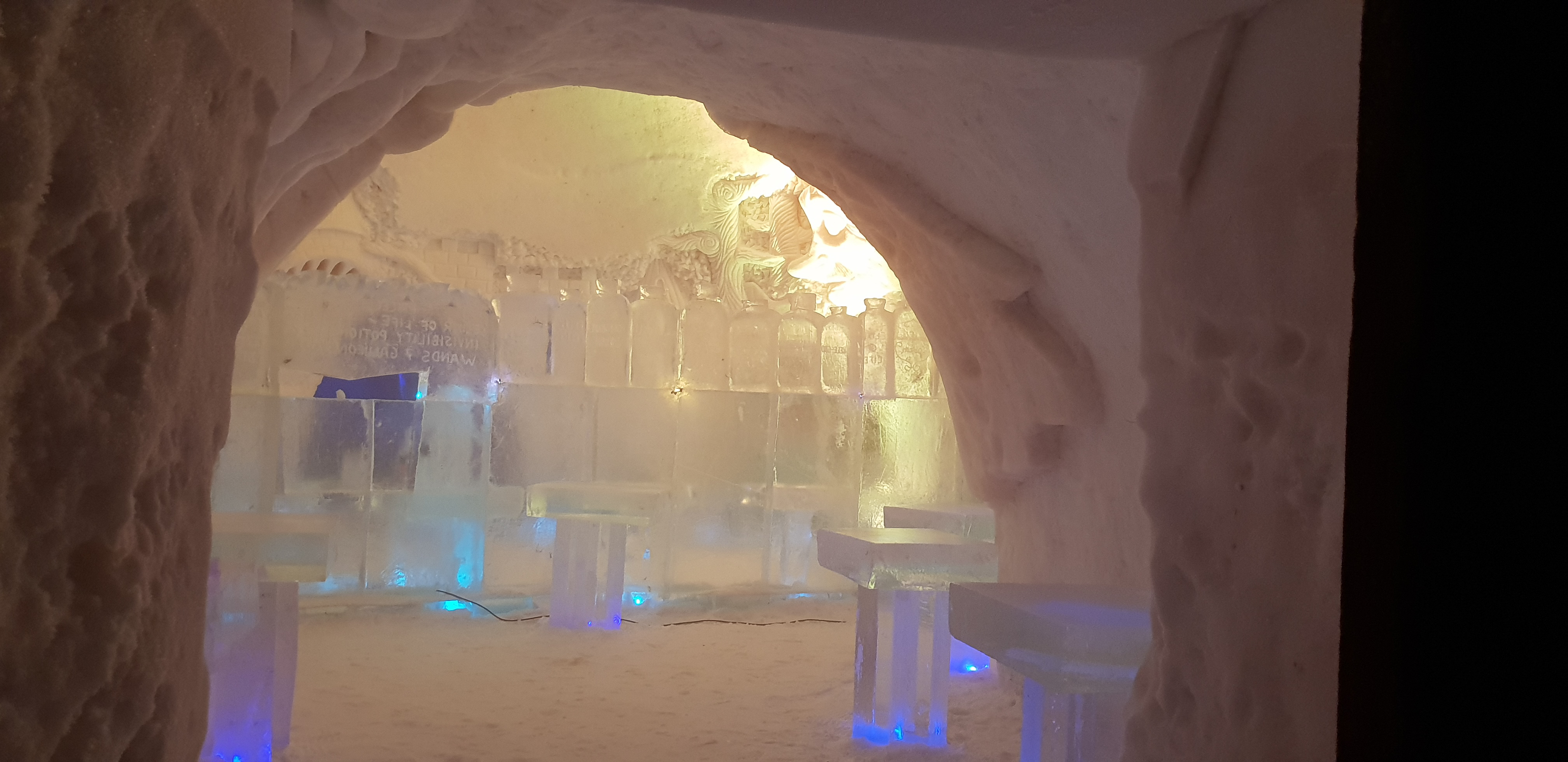 As you enter the Ice Bar, you'll notice an array of bottles.
