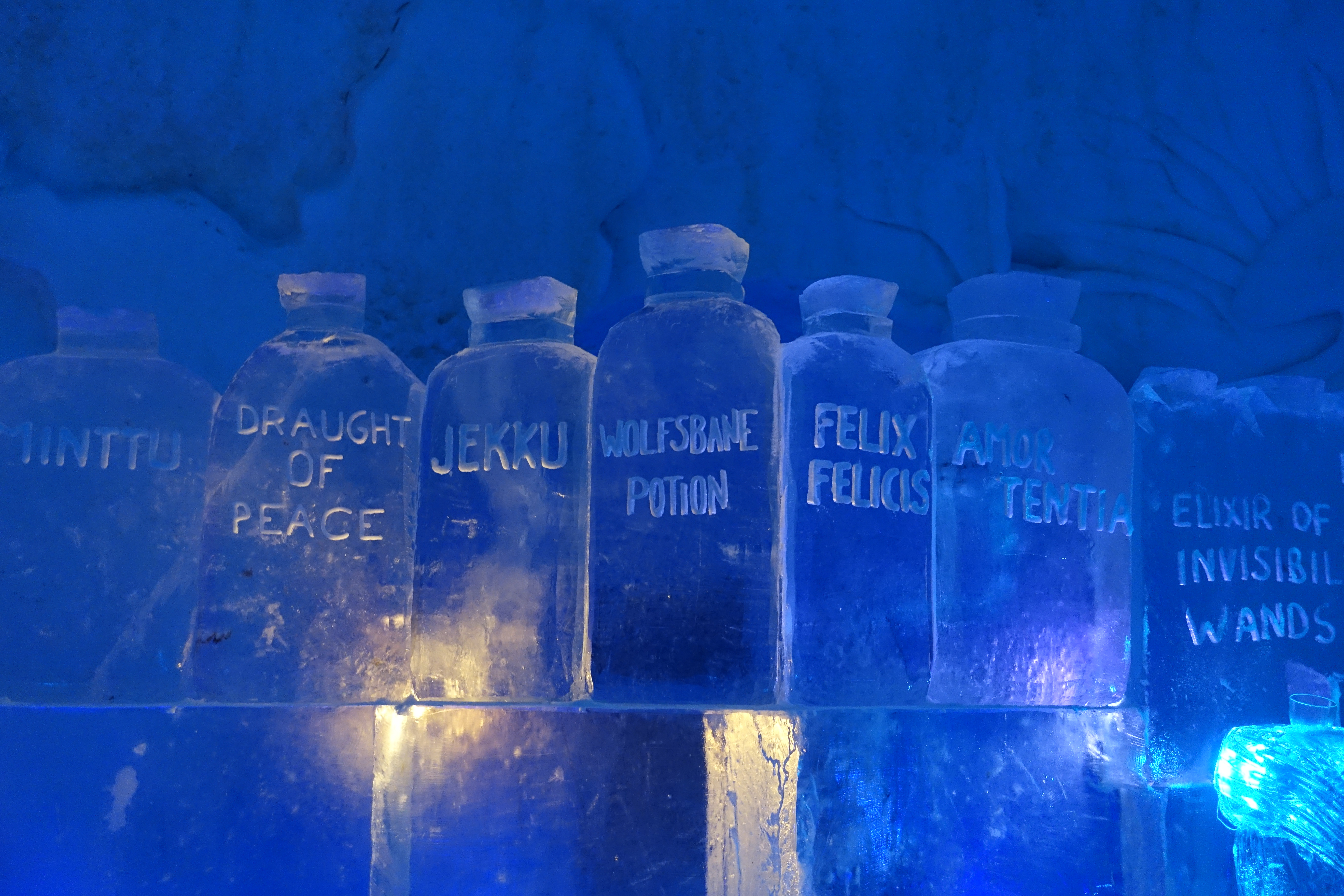 Here is another photo of the potions on display in the Ice Bar from a different angle.