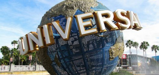 The Universal Studios globe fountain is pictured on a sunny day.