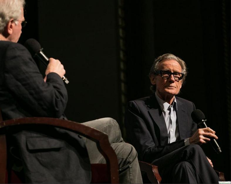 Bill Nighy listens as former San Jose, California, mayor Tom McEnery asks a question.