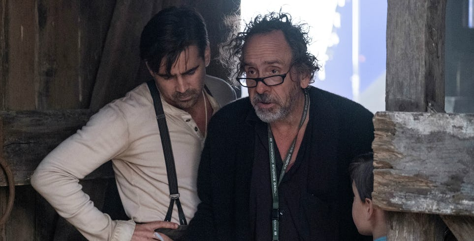 "Colin Farrell and Tim Burton on the set of ""Dumbo""."