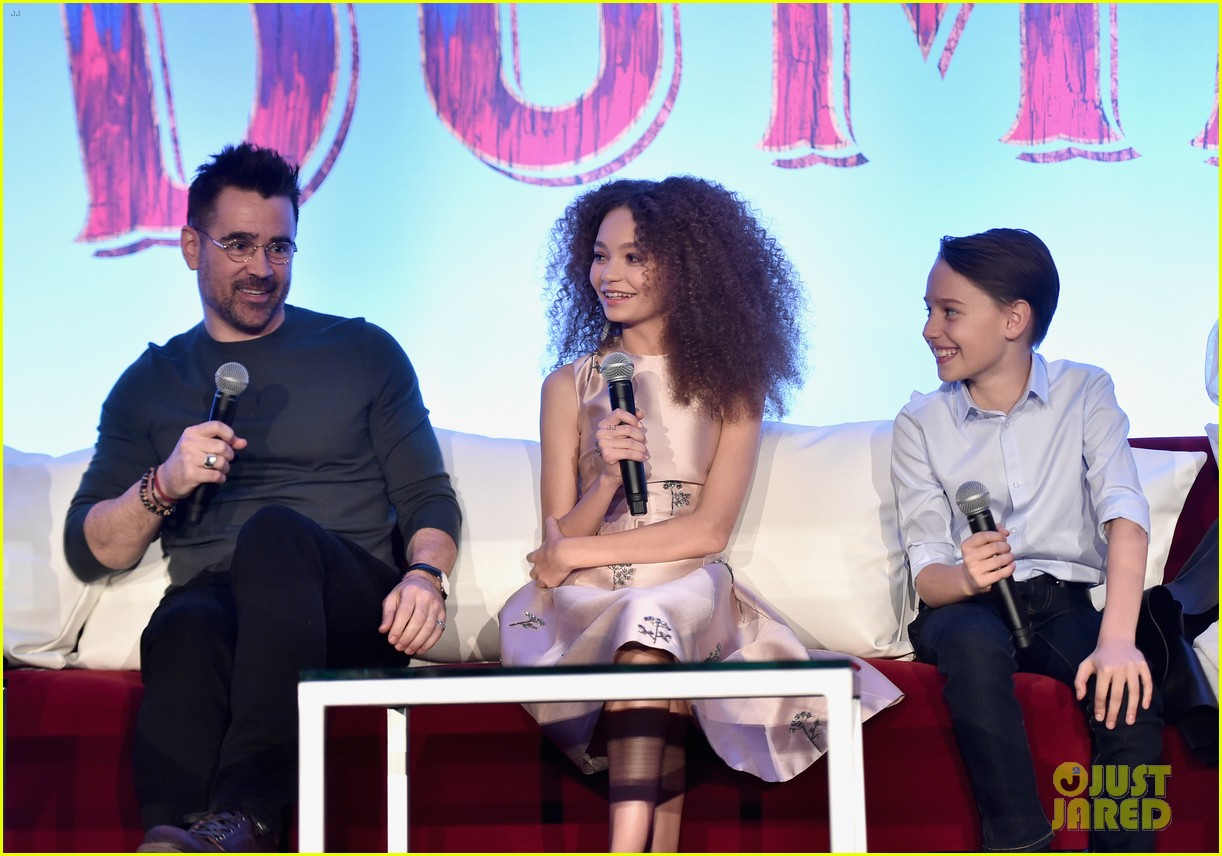 "Colin Farrell answers a question at the ""Dumbo"" press conference alongside Nico Parker and Finley Hobbins."