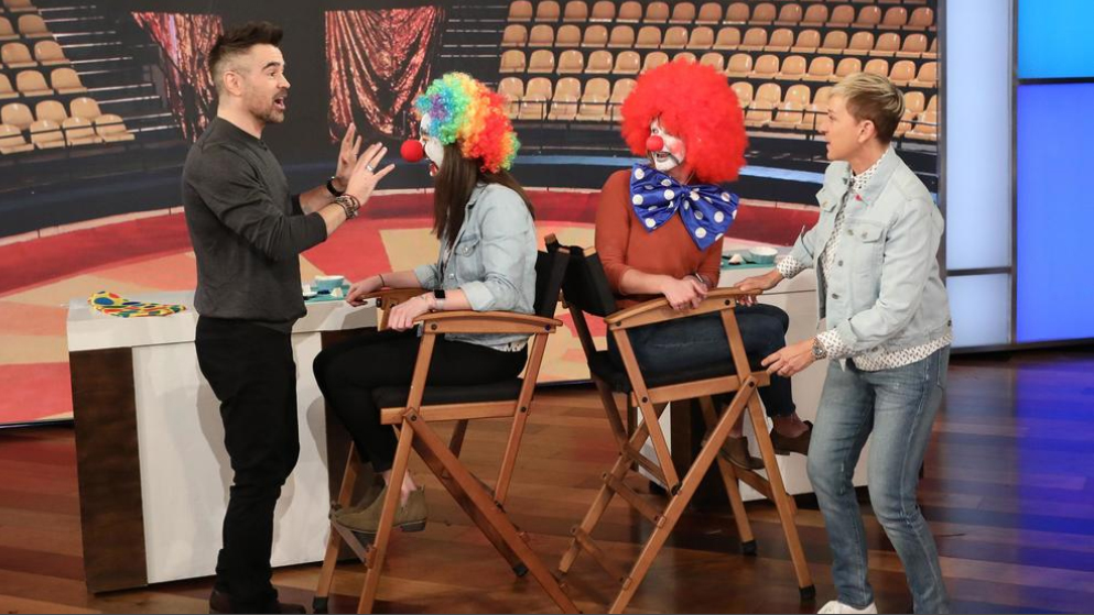 "Colin Farrell and Ellen DeGeneres race to turn two audience members into clowns during Farrell's appearance on ""Ellen""."