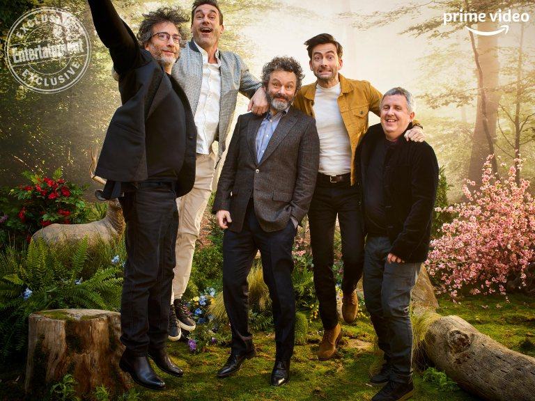 Writer Neil Gaiman, Jon Hamm, Michael Sheen, David Tennant, and director Douglas Mackinnon jump for joy at SXSW.