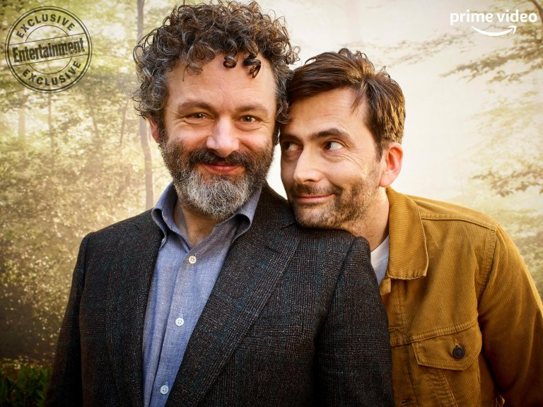 "David Tennant keeps a devilish eye on ""Good Omens"" costar Michael Sheen during a SXSW photo shoot."