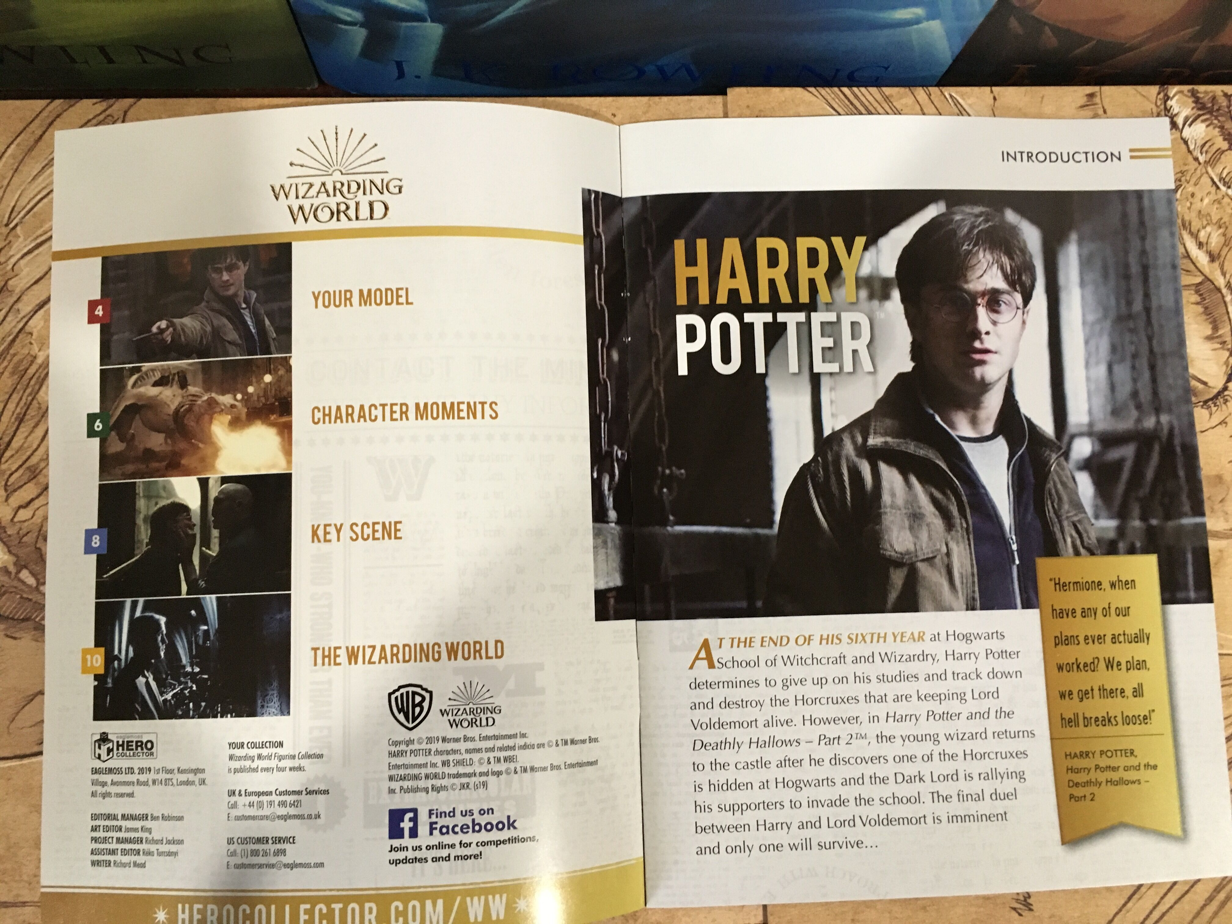 Page two of the magazine gives an index of the content included, as well as a brief character introduction.
