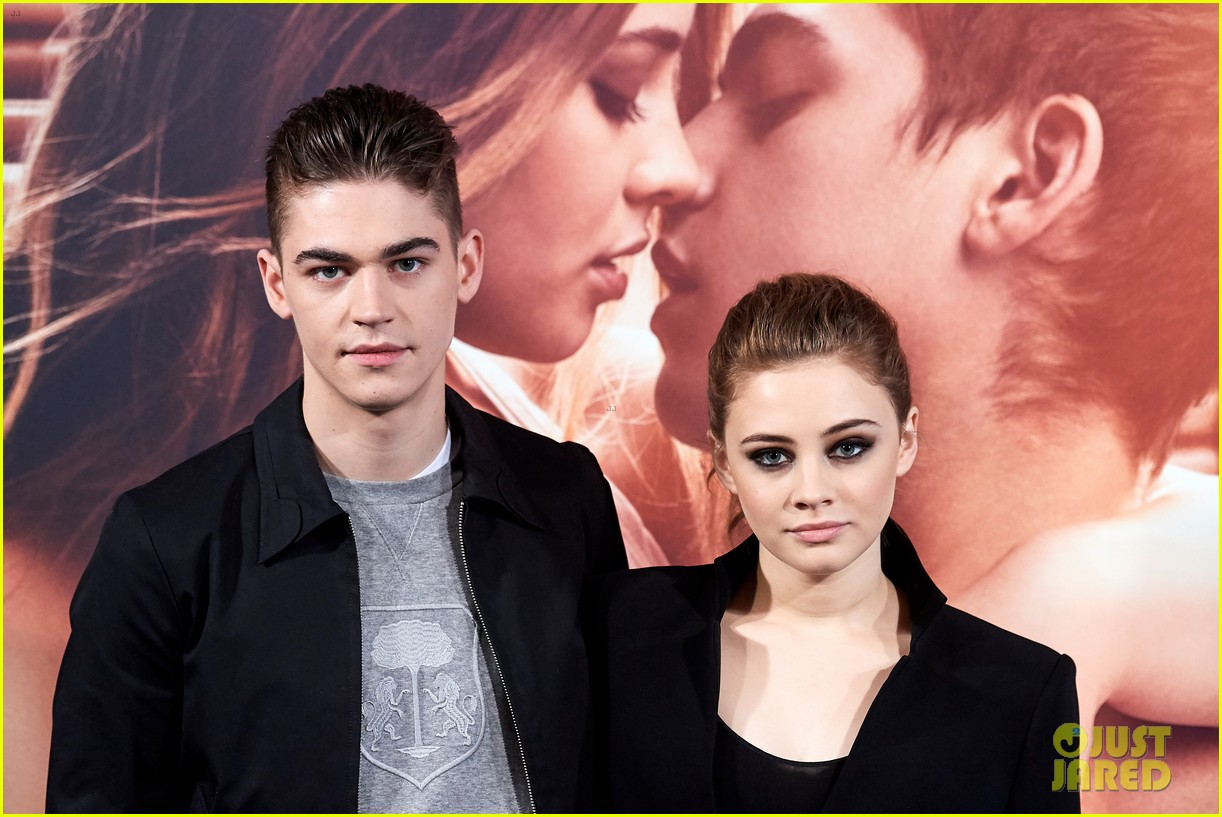 "Hero Fiennes-Tiffin and costar Josephine Langford cast moody looks during a photocall for ""After"" in Madrid, Spain."