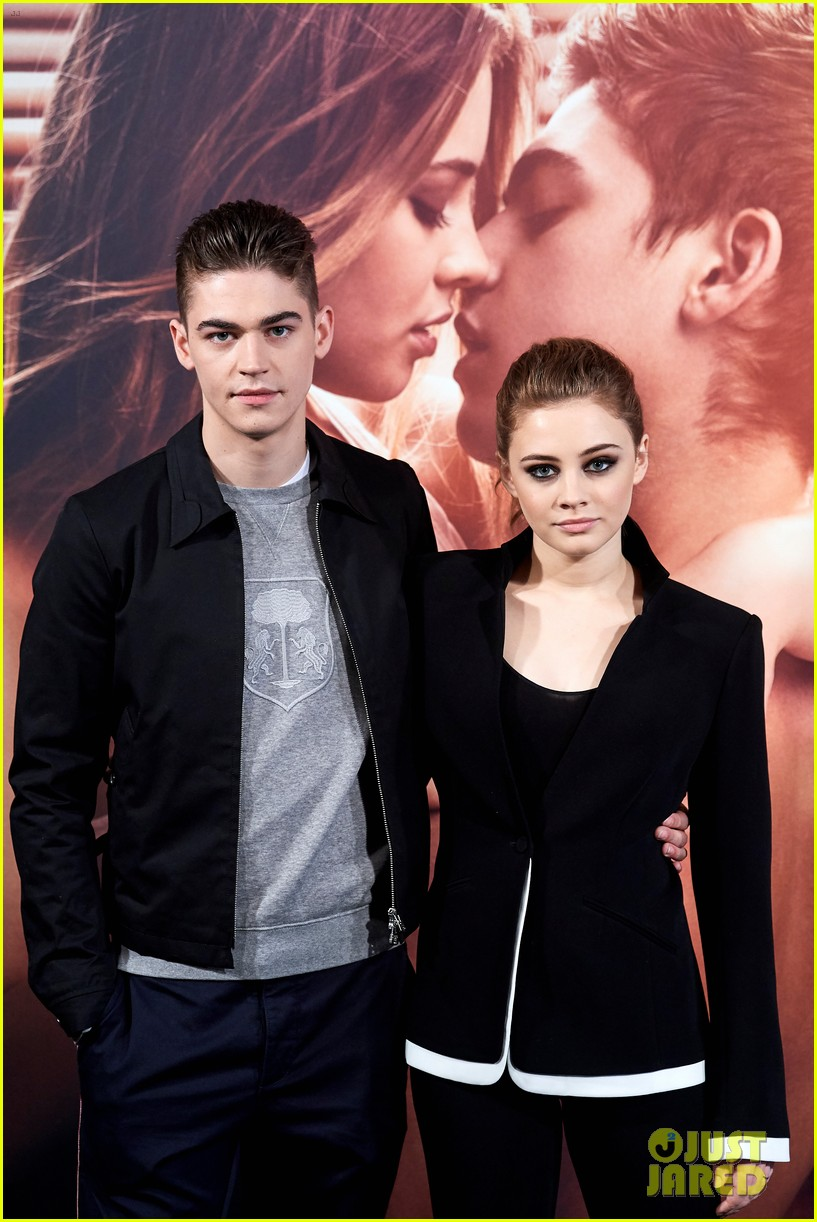 "Hero Fiennes-Tiffin and costar Josephine Langford during a photocall for ""After"" in Madrid, Spain"