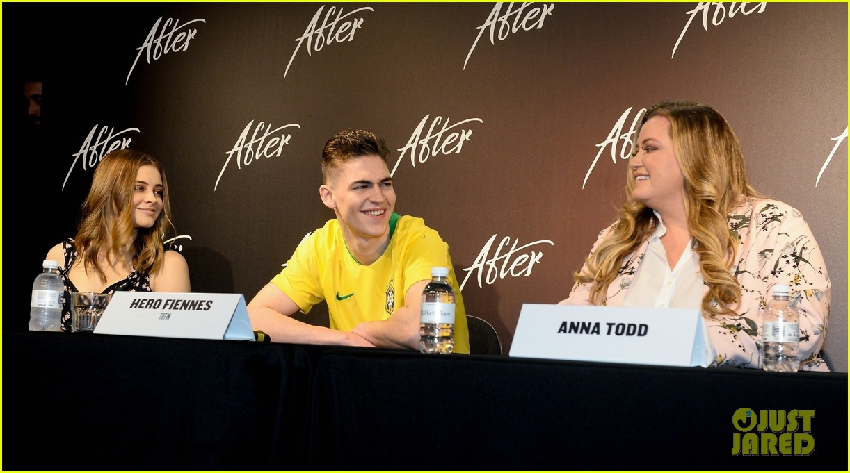 "Hero Fiennes-Tiffin, costar Josephine Langford, left, and author Anna Todd share a laugh during a Brazilian press event for ""After""."