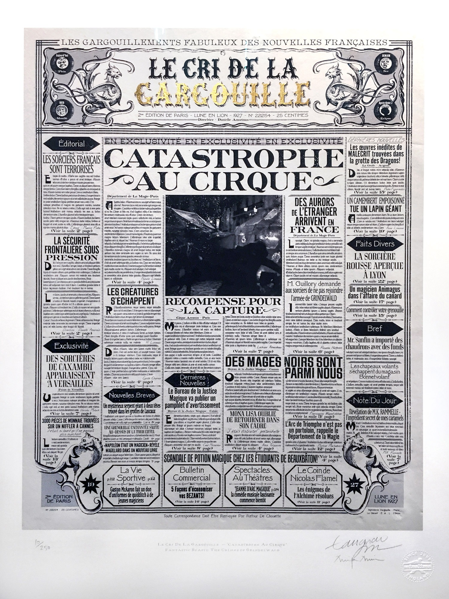 """MinaLima has created several beautifully crafted wizarding newspapers, such as """"Le Cri de la Gargouille""""."""