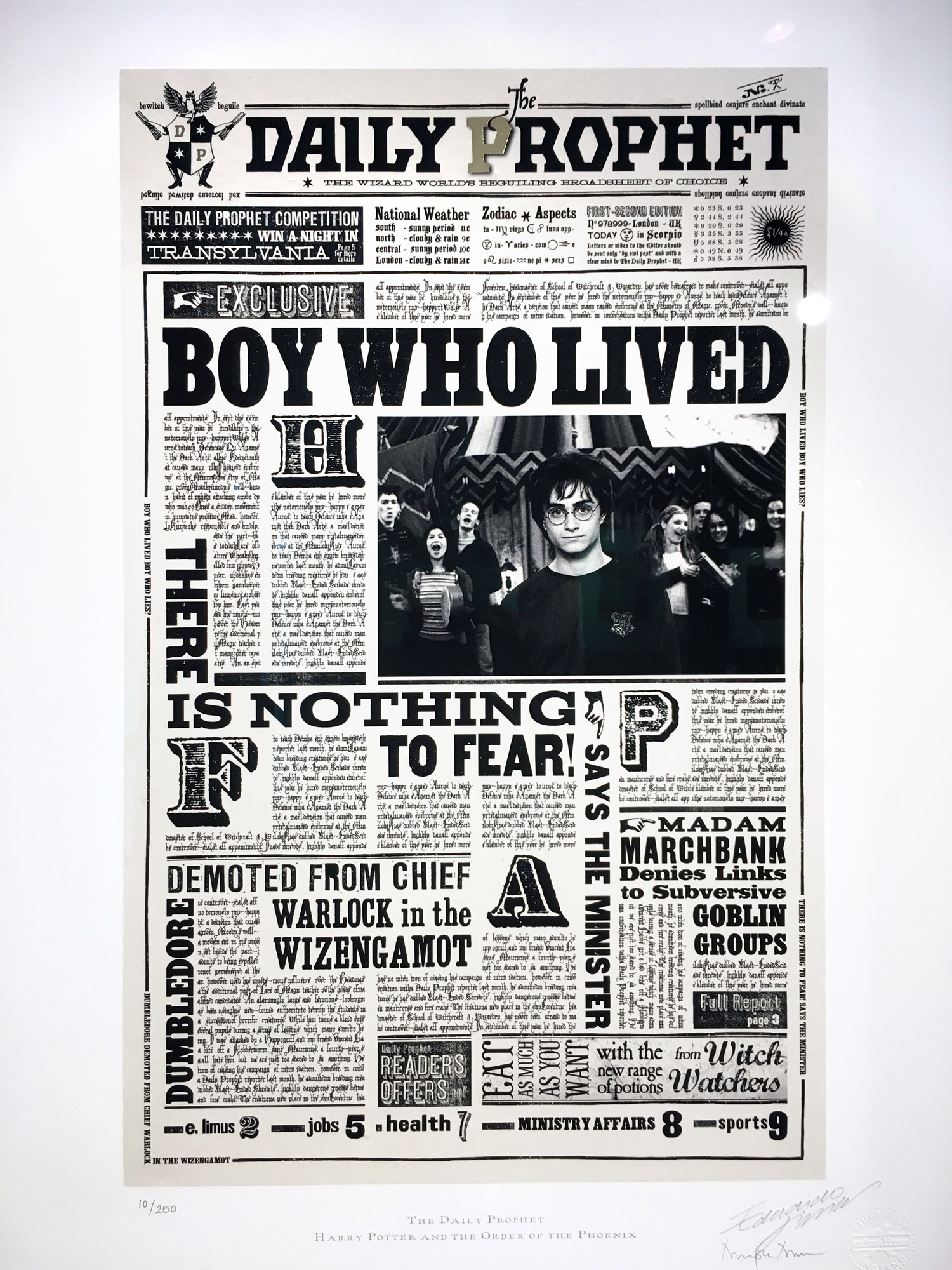 """MinaLima has created several beautifully crafted wizarding newspapers, such as the """"Daily Prophet""""."""