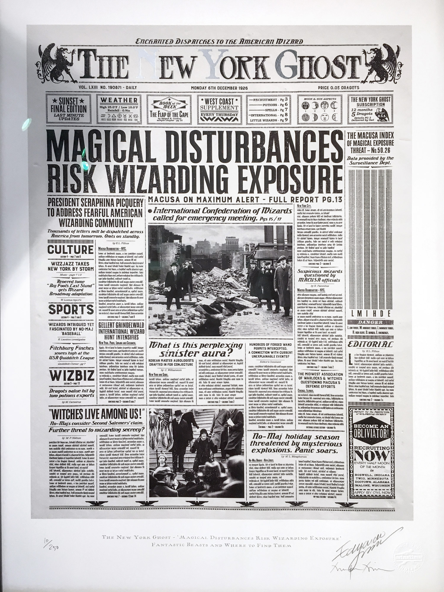 """MinaLima has created several beautifully crafted wizarding newspapers, such as the """"New York Ghost""""."""