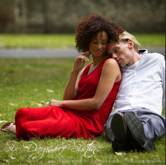 "Jamie Campbell Bower sits with costar Elarica Johnson in a film still from ""Six Days of Sistine""."