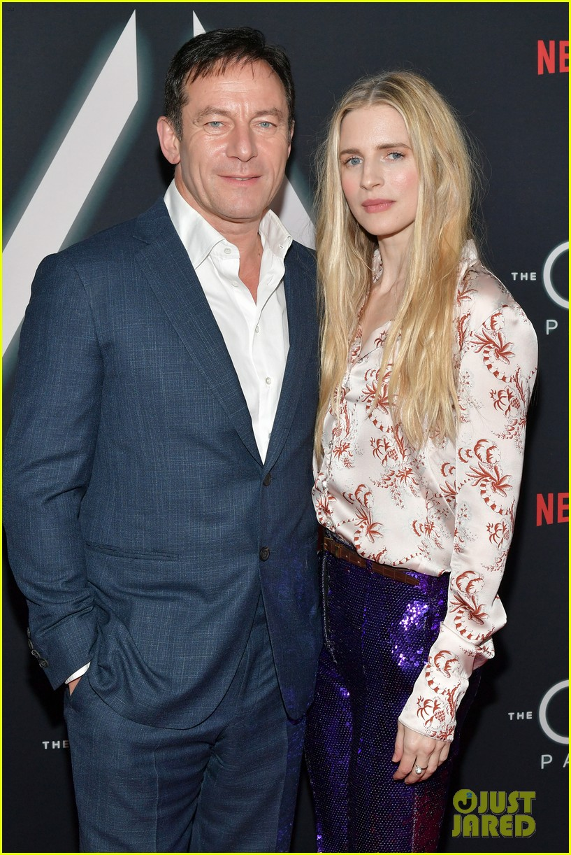 "Jason Isaacs poses with costar Brit Marling during a premiere event for ""The OA"" in Los Angeles."
